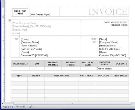 How To Make A Custom Invoice Template With Word Printit4less Printit4less