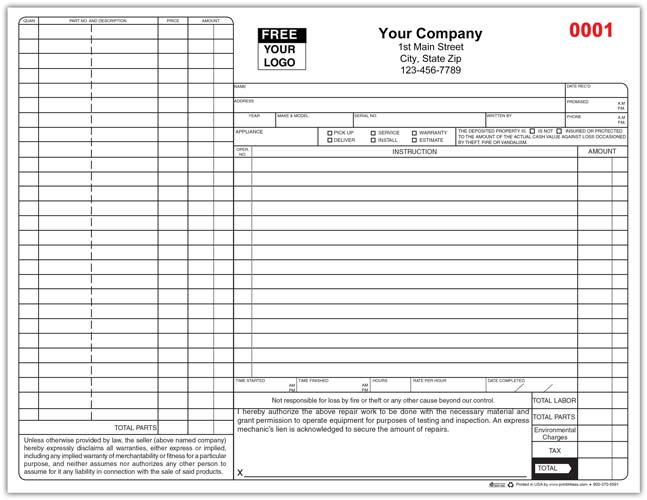 Appliance Service Form