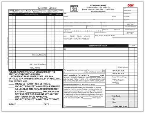 Auto Repair Invoice Form 644