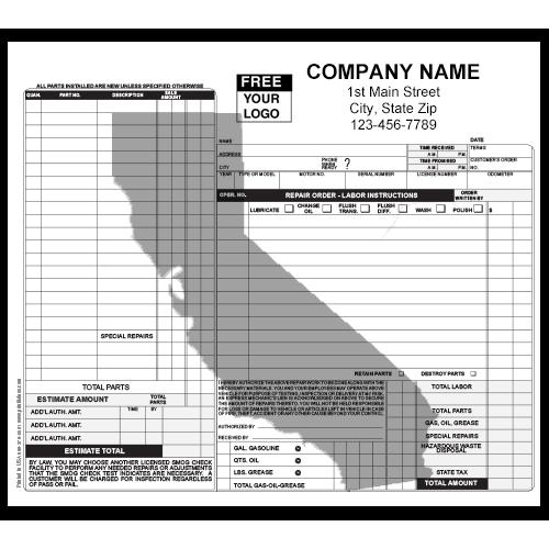 California Auto Repair Forms