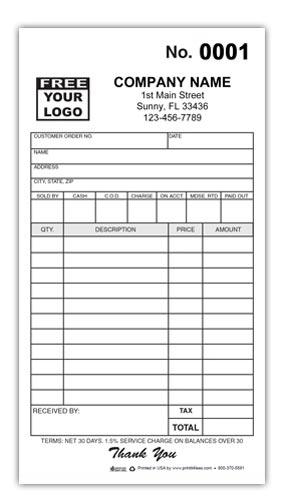 Custom Printed Receipt
