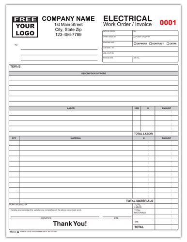 Electrical Contractor Invoice Form