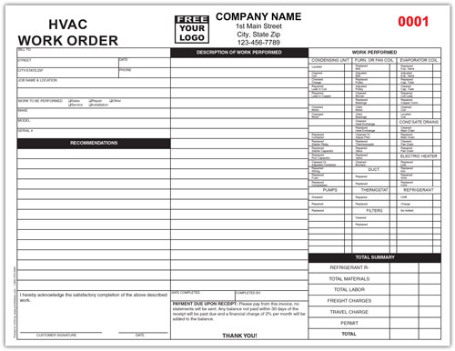 HVAC Repair Invoice
