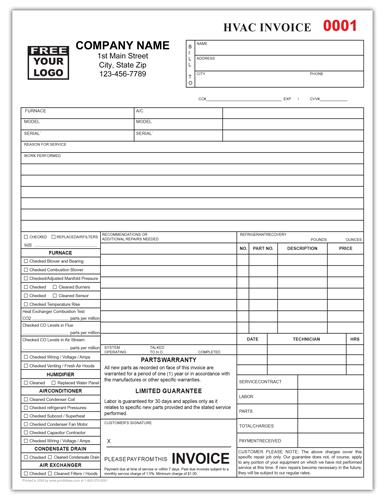 HVAC Repair Service Checklist Form