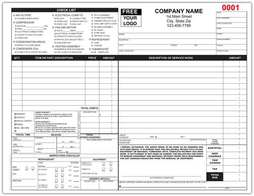 HVAC Service Invoice Form