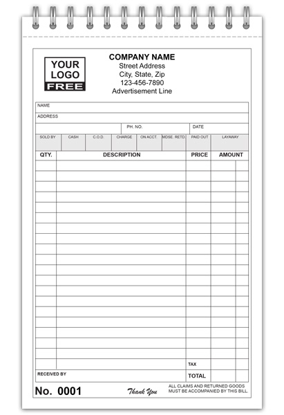 General Sales Receipt Booklet