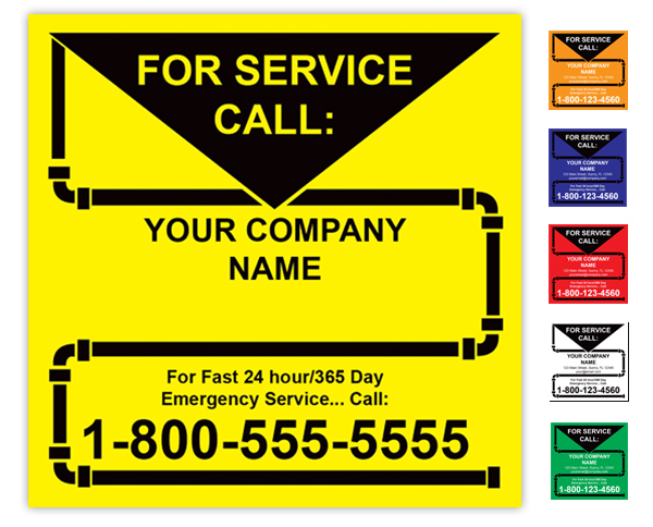 Plumbing Service Call Label