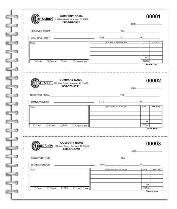 Cash Receipt Book for Tire Shops