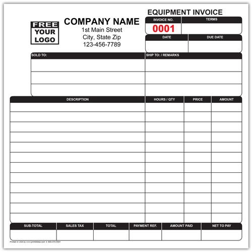 Equipment Work Order Invoice