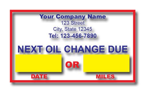 Oil Change Sticker