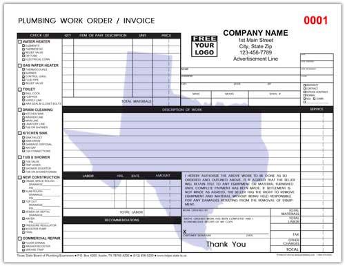 Plumbing Repair Order Form for Texas