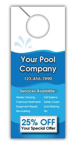 Pool Cleaning Company Door Hanger