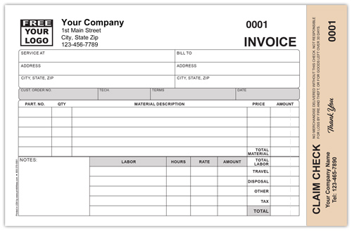 Repair Invoice with Detachable Claim Check