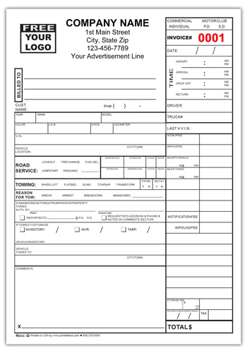 Tow Service Invoice Form