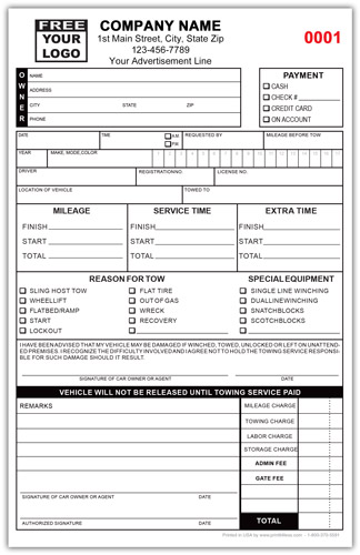 Towing Service Ticket Invoice