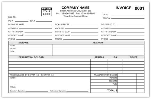 Dump Truck Invoice Form