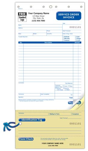 Service Order Invoice with Detachable Claim Check
