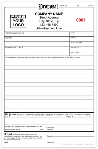 Custom Printed Proposal Form