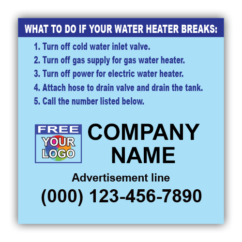 Water Heater Instruction Labels