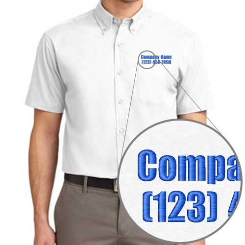 Company Dress Shirts with Embroidered Text