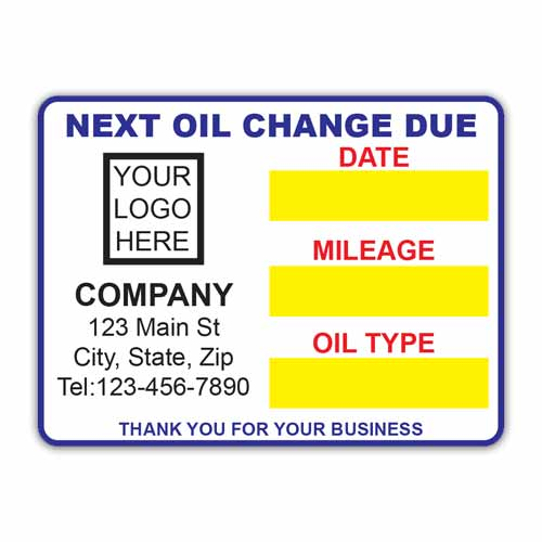 Static Cling Label - Next Oil Change